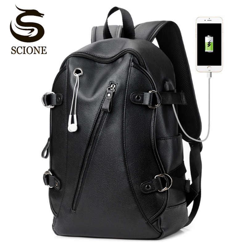 Для мужчин кожаные Водонепроницаемый большая сумка для ноутбука USB дизайн  с отверстием для наушников путешествия рюкзак 03068d710aa