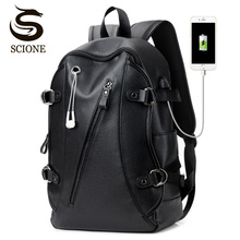 Men's Leather Waterproof Large Laptop Bag USB Design with Headphone hole Travel Backpack School Bags Mochila Masculina