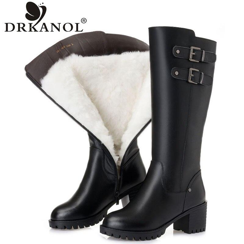 DRKANOL hiver chaud laine bottes femmes à talons hauts genou bottes noires en cuir véritable imperméable à l'eau épais talon fourrure femmes bottes H669-in Bottes hautes from Chaussures    1