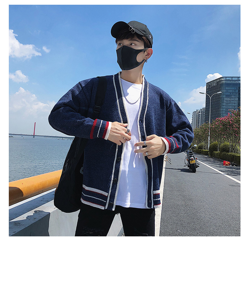 Check Button Cardigan Male Oversize Loose Streetwear (17)