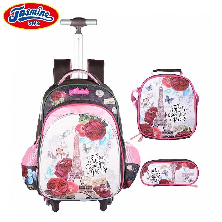 JASMINESTAR 3PCS Trolley School Bags Girl Laptop Backpacks Kids Satchel Luggage Large Capacity Wheeled School Bags For Girls