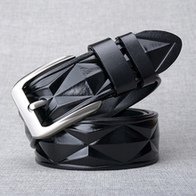 BISI GORO 2019 New Arriva 3D Argyle large men belt cow genuine leather vintage Buckle strap jeans high quality ceinture homme