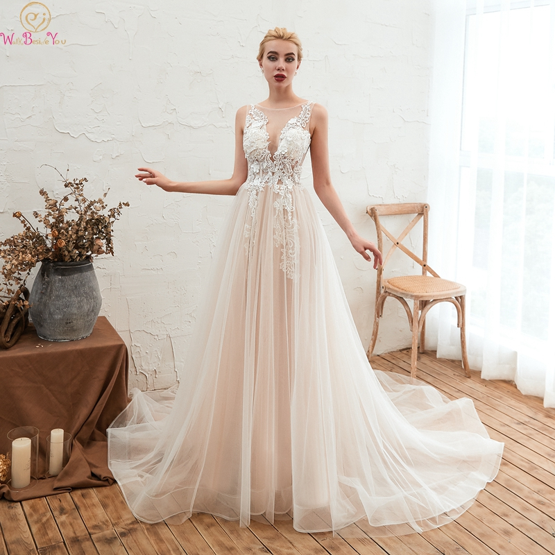 Scoop Neck Wedding Dresses Simple Sleeveless Elegant A Line Tulle Appliques Lace Up Plus Size Custom Bridal Gowns Robe De Mariee