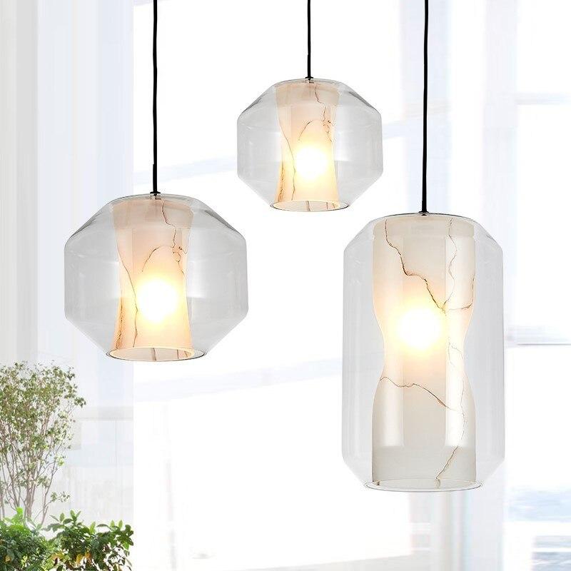 Postmodern Led Pendant Light Dining Room Lighting Study Design Lamp Glass Shape Luminaire Stone Pattern White Lusters E27