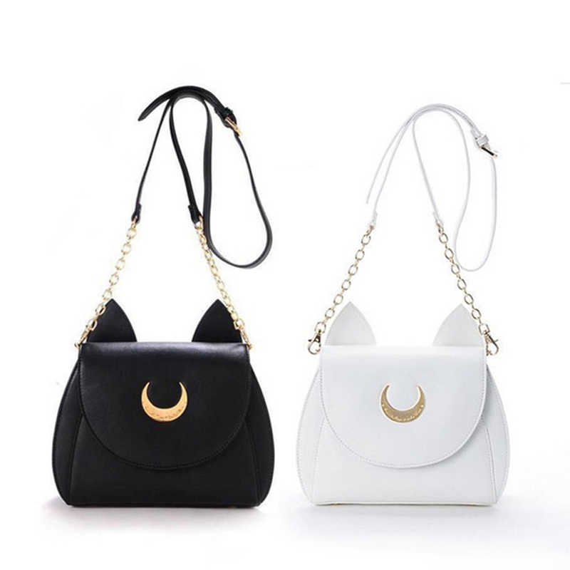 fdc4fcded06f Summer Sailor Moon Ladies handbag Black Catty Chain Shoulder Bag PU Leather  Cat Ear Women Messenger Crossbody Small Woman Bag