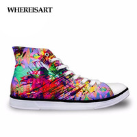 WHEREISART Fashion Spring Women High Top Vulcanize Shoes Galaxy Space Star 3D Printing High top Canvas Leisure Shoes for Women
