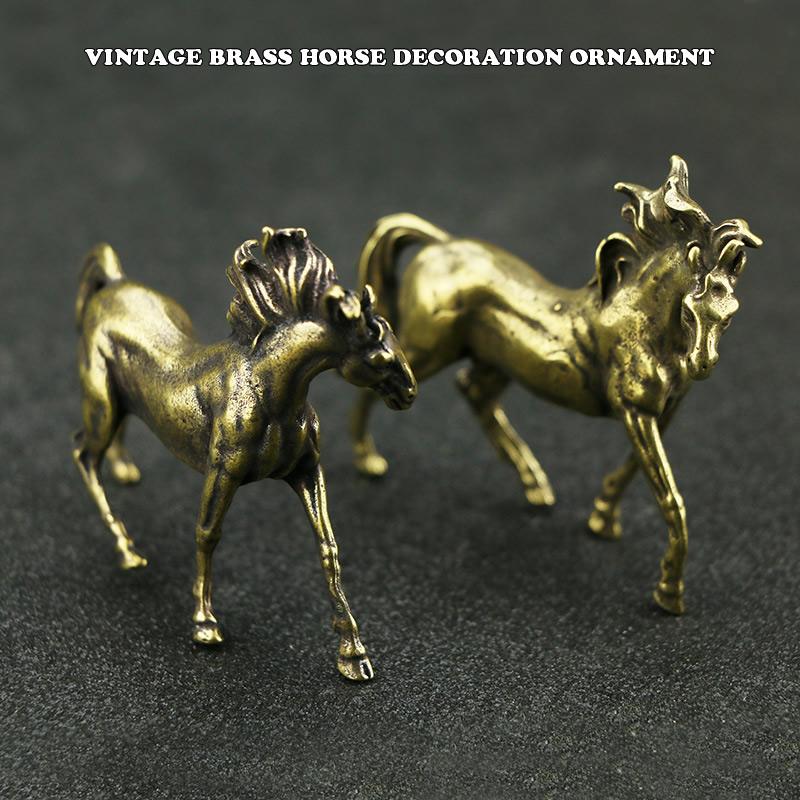 Mini Vintage Metal Brass Horse Statue Pocket Running Horse Sculpture Home Office School Desk Decorative Ornament Toy Gift
