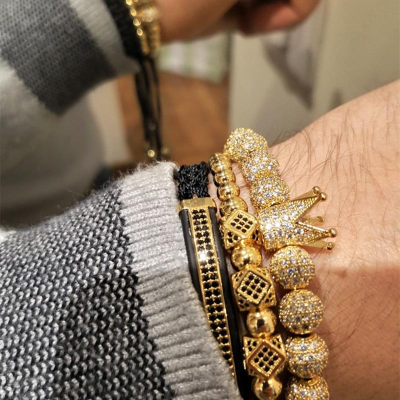 3pcs/Set Hip Hop Gold Crown Bracelets 8MM Cubic Micro Pave CZ Ball Charm Braided Braiding Man Luxury Jewelry Pulseira Bileklik