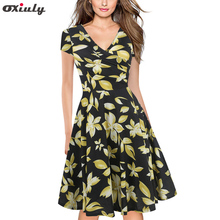 Oxiuly Rockabilly Dress Summer 50s Retro Vintage Dresses Women Clothing Pin Up Flower Striped A-Line