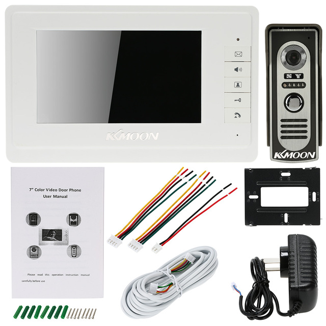 """7"""" Wired Video Door Phone System Visual Intercom Doorbell with 1*800x480 Monitor + 1*700TVL Outdoor Camera for Home Surveillance 5"""