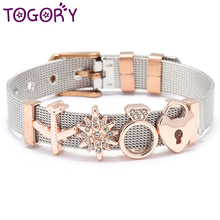 TOGORY,, Набор браслетов из нержавеющей стали, Золотое любовное сердце, очаровательный брендовый браслет, браслет для женщин, ювелирные изделия, подарки