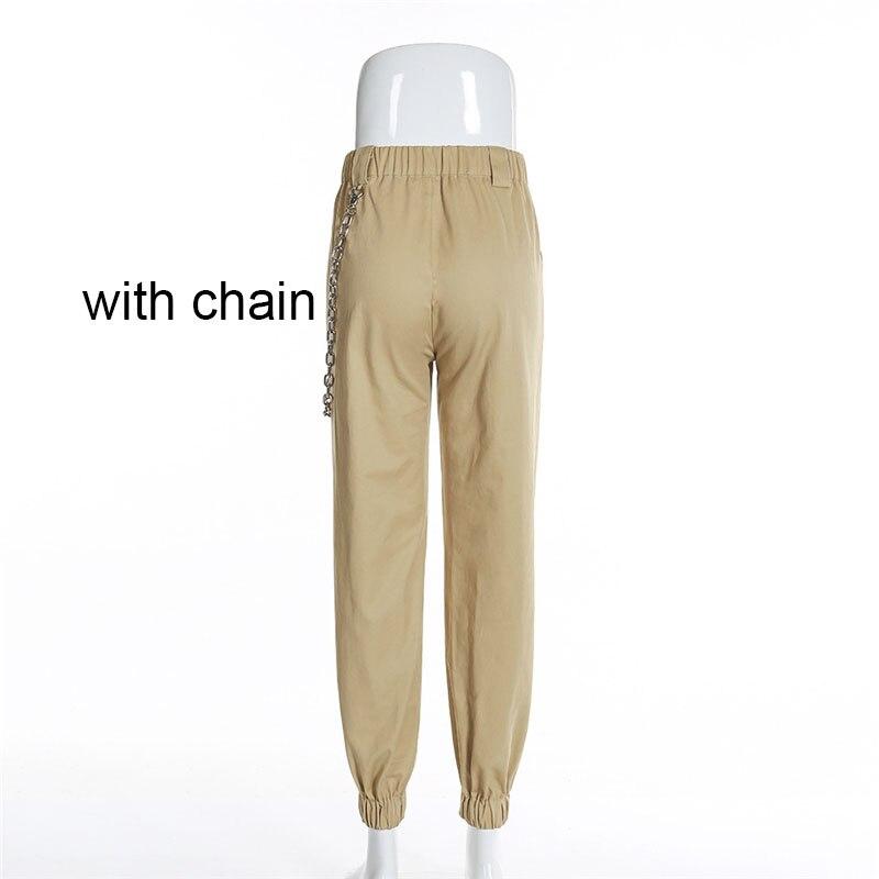 95 De 2018 Decoración Cremallera Cadena Caqui Nuevo Mujer Algodón Color La Cargo Pantalones Elásticos 1 Cintura Dhihkk Negro Pies d8aX1wqw