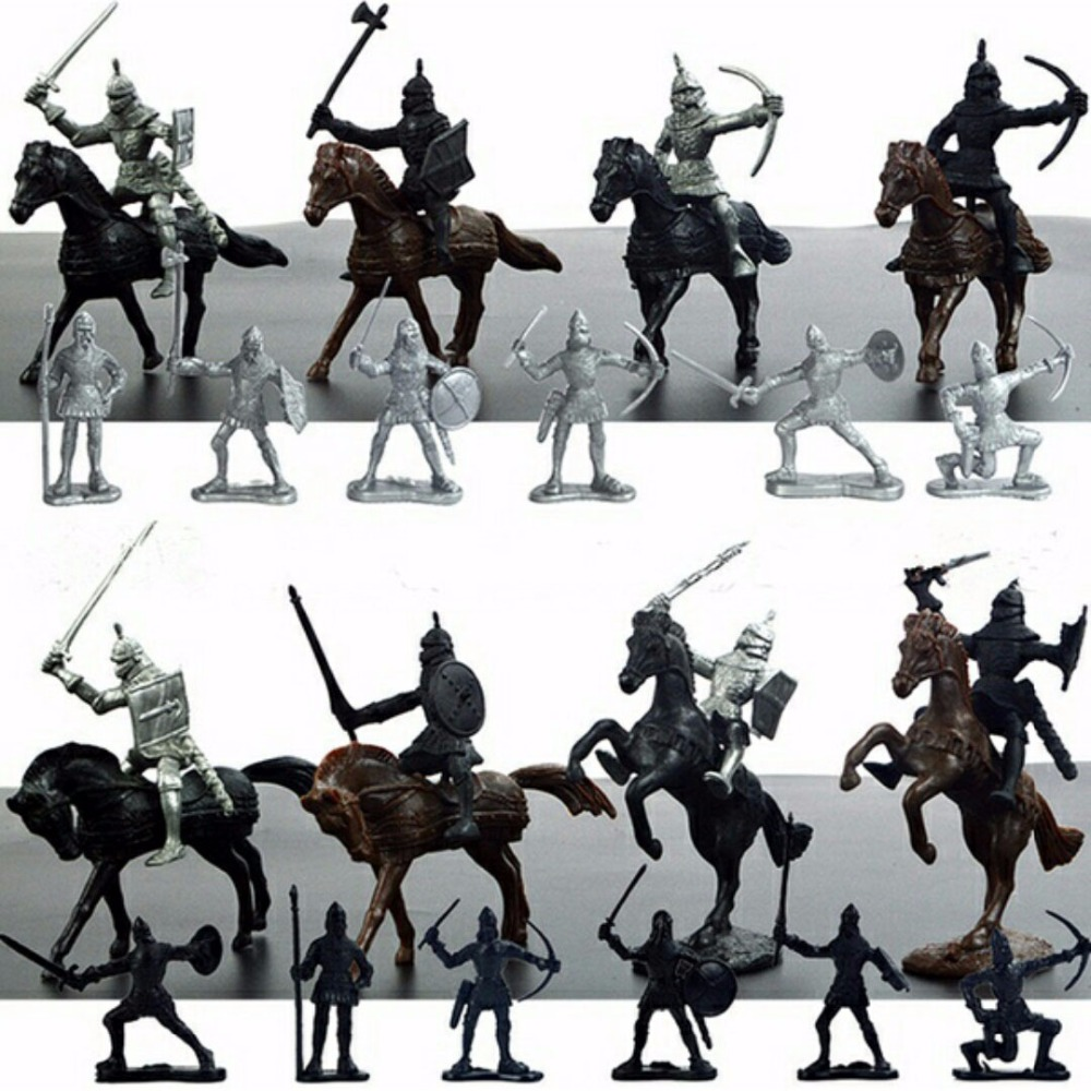 28PCS Medieval Knights Warriors Horses Kids Toy Soldiers Figures Model Playset playing on sand castles Free Shipping ancient knight 28pcs set soldiers and horses medieval model toy soldiers figures