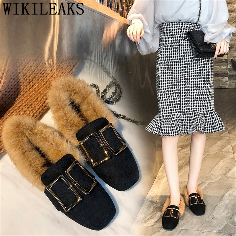 luxury brand fur shoes woman flats ladies flat shoes women zapatos mujer tenis feminino casual slip on shoes for women loafers все цены
