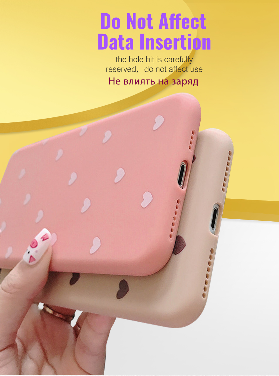 Fashion Sweet Heart Phone Case For iphone XR XS Max Simple Cute Love Heart Soft TPU Case Cover For iPhone XS Max XR 6 7 8 Plus