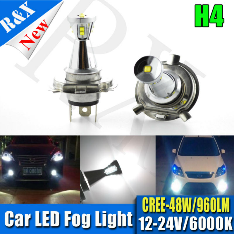 1Pair H4 9003 48W High Power Car LED Fog DRL Daytime Running Light Bulb Auto Headlight Hi/Lo Light Source DC12-24V Cool White