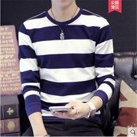 Молодежная трендовая футболка с длинными рукавами с круглым вырезом в полоску плюс бархатная одежда Мужской осенне зимний толстый свитер т