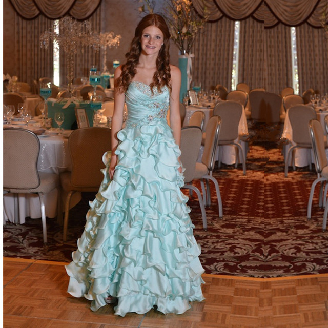 baa55ef0105 Light Blue Bat Mitzvah Dress With Beading Floor Length Tuffles Teens  Sweetheart Dress Long Prom Dress