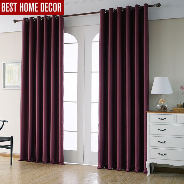 Modern Blackout Curtains For Living Room Bedroom Window Drapes Wine Red Finished