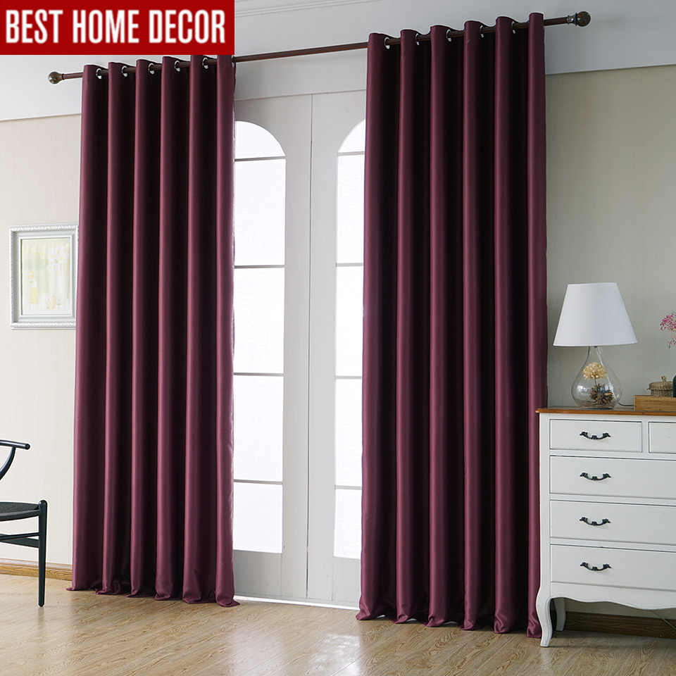 Modern blackout curtains for living room bedroom curtains for window drapes wine red finished blackout curtains 1 panel blinds