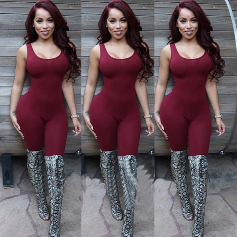 593cdc9f57b Ladies Women Bodysuit Rompers Womens Jumpsuit American Apparel Sleeveless  Bangdage Sexy Backless Full Length Bodycon Jumpsuits-in Jumpsuits from  Women s ...