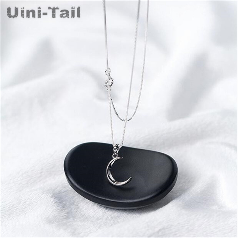 Uini-Tail Hot New 925 Sterling Silver Korean Sweet Moon Short Necklace Temperament Crescent Bay Clavicle Chain Female GN441