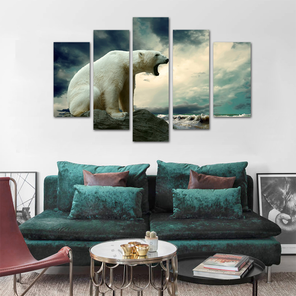Unframed HD Print 5 Canvas Art Painting Polar Bear Living Room Decoration Spray Painting Mural Unframed Free Shipping
