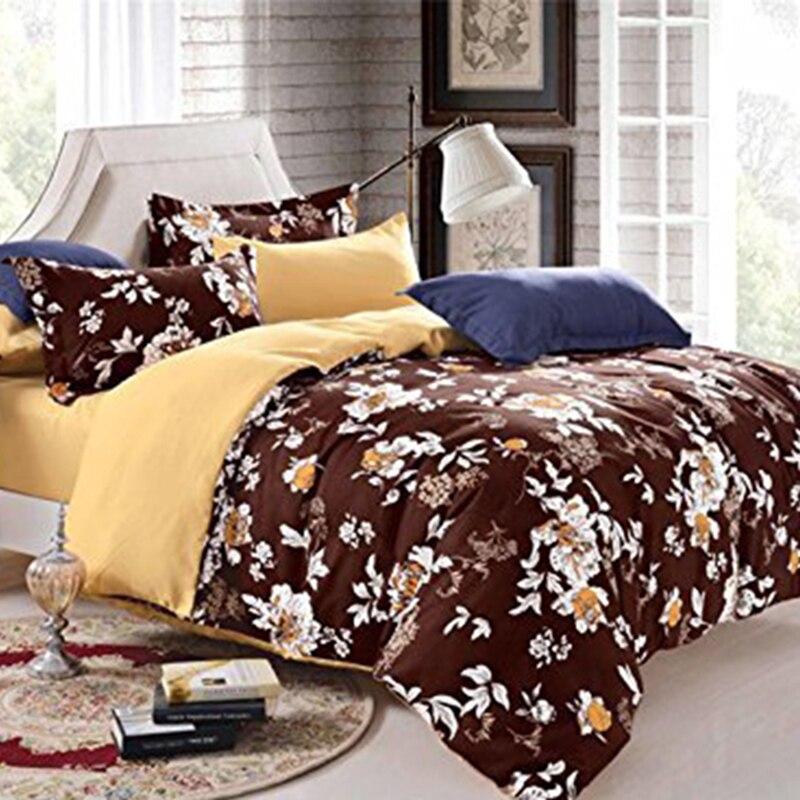 Polyester Brown Vintage Flower Cover/comforter 135*200/180*210/220*230/220*240 Wedding Bedclothes