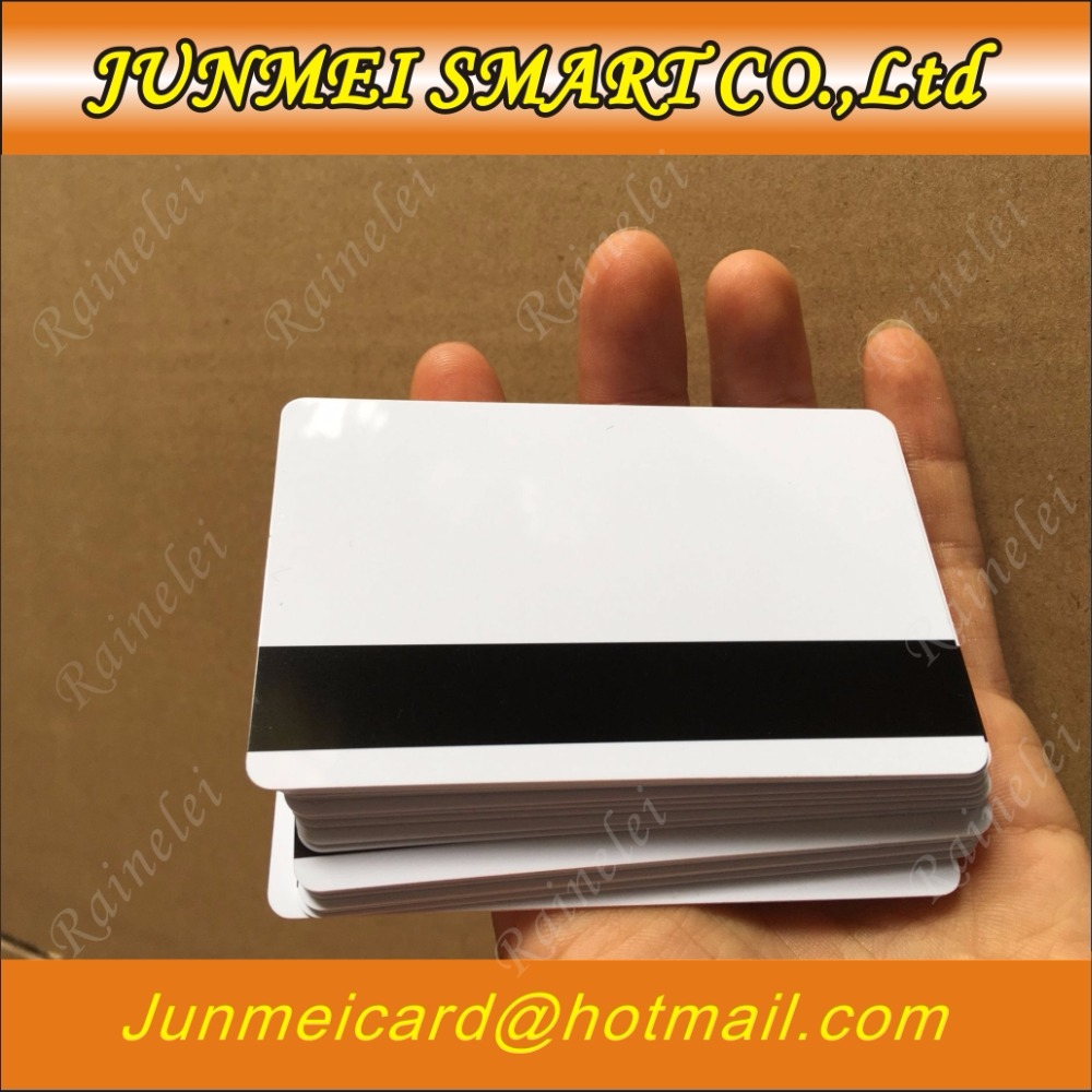 100pcs Blank PVC Plastic  Hico Magnetic Stripe Card 2750 OE 3 Track Pvc Card 30Mil Magnetic Card With Printable For Card Printer(China)