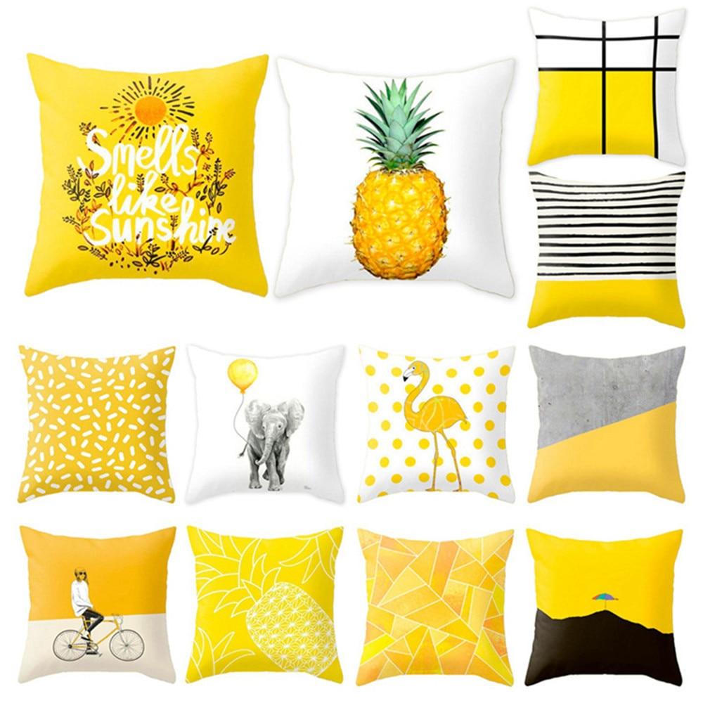 Yellow Polyester Geometric Cushion Pineapple Pillow Decorative Cushion For Sofa Diy Printed Pillow Seat Chair Cushion