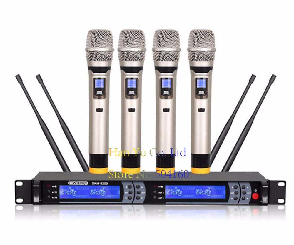 Professional  KTV wireless microphone infrared to frequency 4x100 Channel UHF Wireless  Microphone SystemProfessional  KTV wireless microphone infrared to frequency 4x100 Channel UHF Wireless  Microphone System