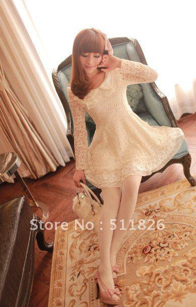 Women Spring Pearl Collar Stiching Chiffon Lace A Type Swing Tunic Dress free shopping  5120