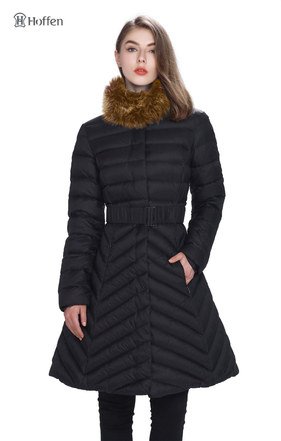 Hoffen 2016 New Arrival A-Line Womens Long   Down     Coat   Removable Collar with Real Raccoon Fur Warm Parkas For Women Winter B006577