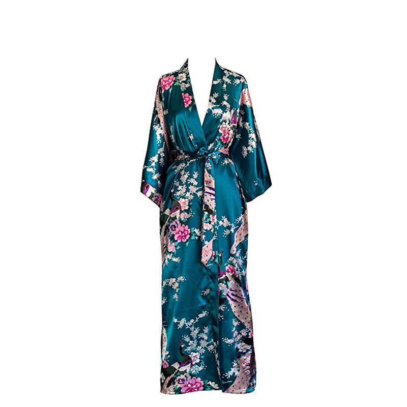 Image 4 - Plus Size XXXL Chinese Women Long Robe Print Flower Peacock Kimono Bathrobe Gown Bride Bridesmaid Wedding Robes Sexy Sleepwear-in Robes from Underwear & Sleepwears