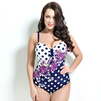 One Piece Swimsuit Plus Size Women Sexy Dots Back Hollow Out Swimwear Women Brazilian Beachwear Monokini