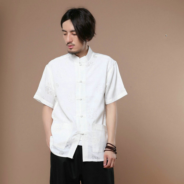 New Design Short Sleeve Cotton Traditional Chinese Clothes Tang Suit Top Men Kung Fu Tai Chi Clothes for Men Blouse