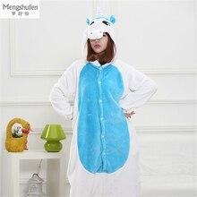 Купить с кэшбэком Adult Unicorn Pajamas Animal Cartoon Flannel Winter Long-Sleeved Tracksuit Couple Going To The Toilet Edition Pajama Sets Onesie