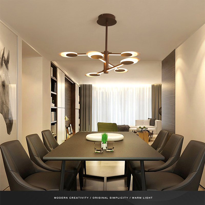 Nordic chandelier creative aluminum led restaurant living room brown lighting lamps simple modern