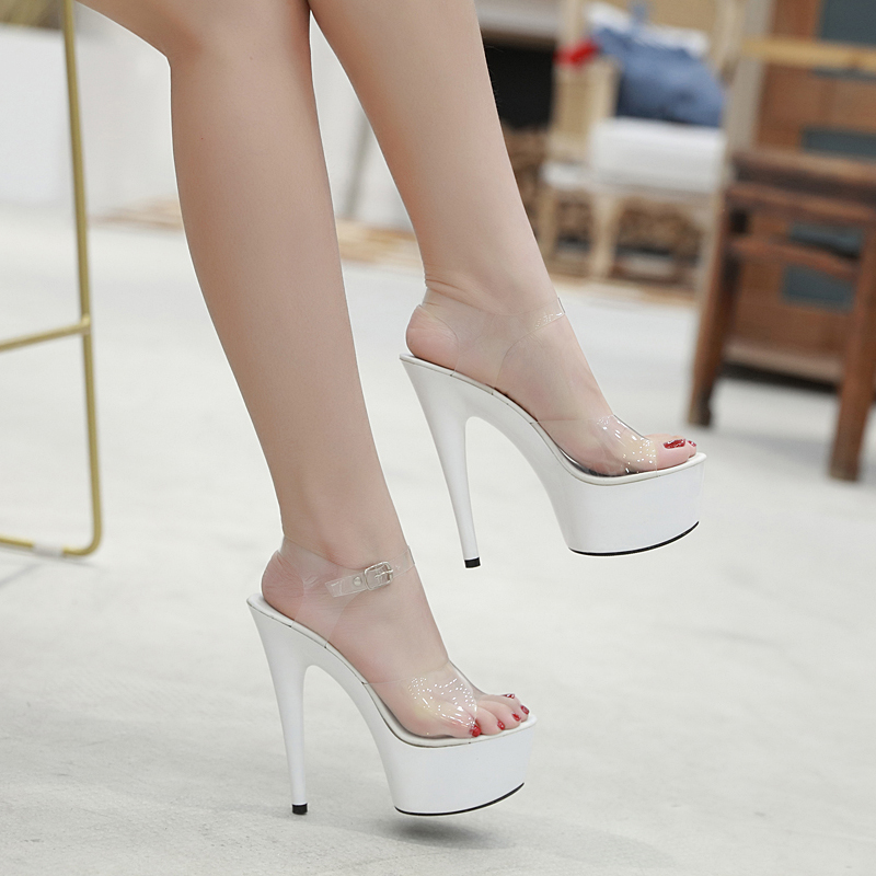 2019 Summer 6 Color Red  White Black Sandals Women Platform Shoes Sexy Nightclubs T Stage Shows High Heels 15cm Plus-size 34-41