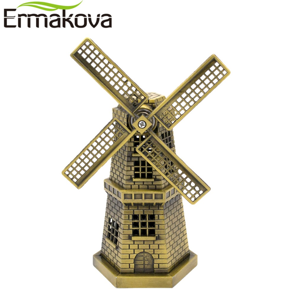 ERMAKOVA 18cm (7 pouces) Antique Bronze néerlandais moulin à vent modèle métal Figurine ameublement Article hollande moulin à vent décor à la maison ornement