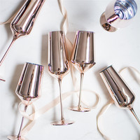 Rose Gold Red Wine Glass Cyrstal Goblets Juice Drink Champagne Goblet Party Barware Dinner Water Chic Luxury 425ml 400ml