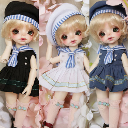 BJD doll clothes suit white black dark blue Western style clothes Sailor suit for 1 6