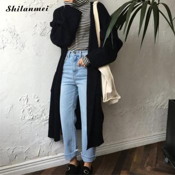 Long Cardigan Coatsladies 2018 Spring Fashion Long Knit Sweater Women Large Coat Casual Black Jacket Winter Clothing Sweaters
