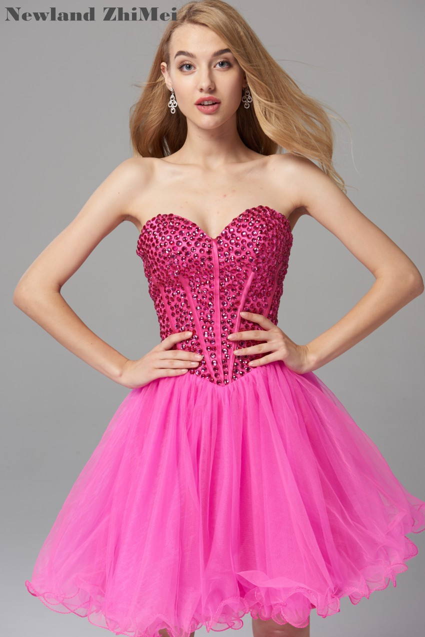 Fuchsia Pink Crystal   Cocktail     Dress   Custom Made Sweetheart Ball Gown Tulle Sexy Short   Cocktail   Party   Dress   vestido curto