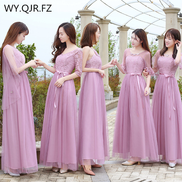 ZX050 Red bean paste Elastic waist long Bridesmaid Dresses 2018 Winter new  Sister group wedding 05907bfb33a9