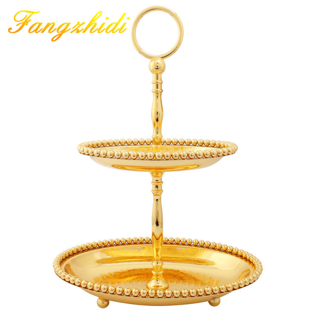 2 Layer Golden Plate Metal Fruit Serving Tray Cake Plate for Wedding ...