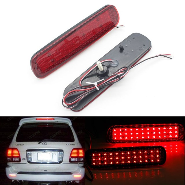 2 pcs LED Vermelho Traseiro Refletor de Luz de Nevoeiro Estacionamento Aviso freio Cauda Lâmpada Lâmpadas apto para Toyota Land Cruiser 100/Cygnus LX470