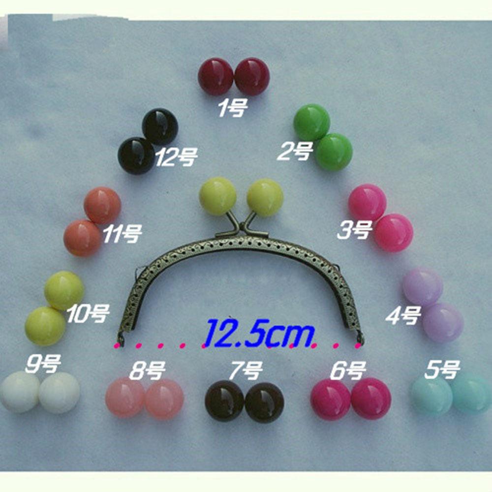 2pcs 12.5cm DIY Metal Frame Kiss Clasp Half Round For Purse Bag colorful Round Ball AP2343