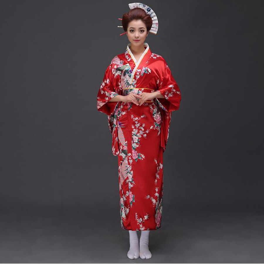 伝統的な女性のセクシーなサテン着物浴衣帯パフォーマンスダンスドレス日本のコスプレ衣装花ワンサイズ