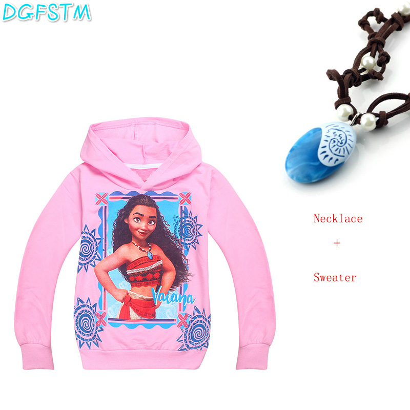 Moana Necklace+T-shirt Princess Cosplay Clothes for Children Costume Vaiana T shirt with Necklace Costumes for Kids Girl Sweater baby girl clothes princess dress moana cosplay costume for children vaiana girls party wedding dresses with necklace costumes